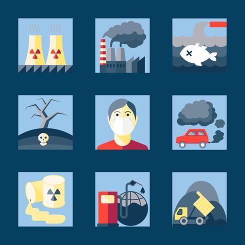 Jogo, de, poluição, ícones vetor