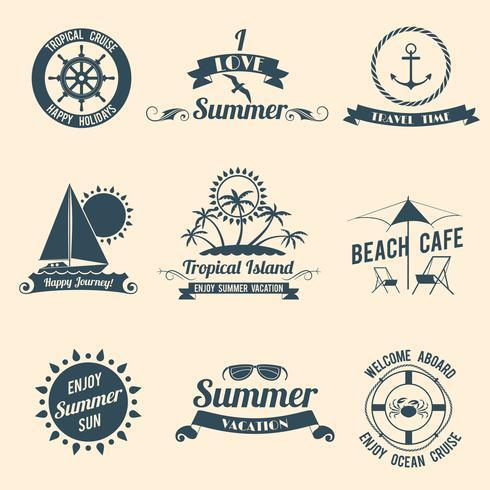 Emblemas do mar de verão preto vetor
