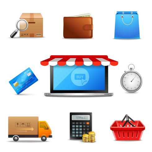 Ícones de compras on-line realistas vetor