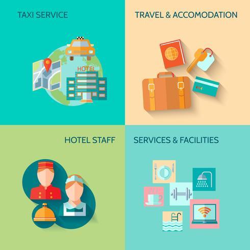 Conjunto de composição de serviço de hotel vetor
