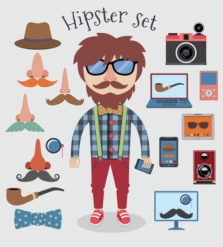 Conjunto de menino hipster vetor