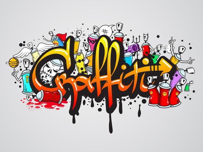 Composição de personagens de graffiti vetor