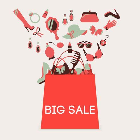 Grande venda saco de compras vetor