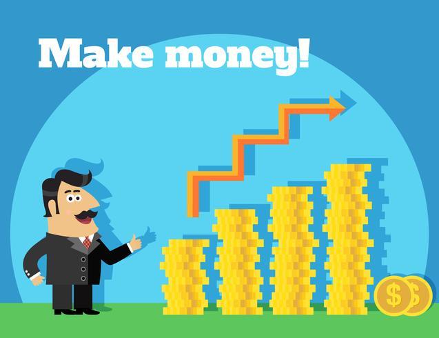 Vida negócio, fazer, dinheiro, conceito vetor