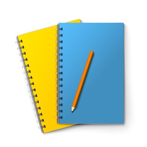 Blocos de notas e lápis vetor