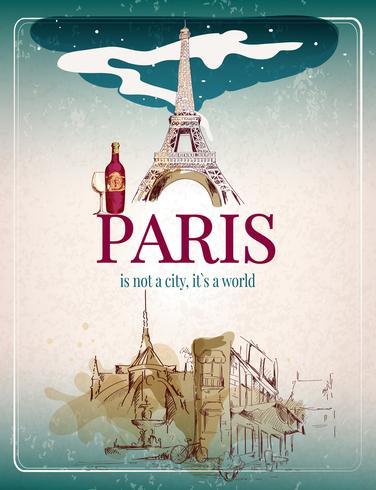 Poster retro de Paris vetor