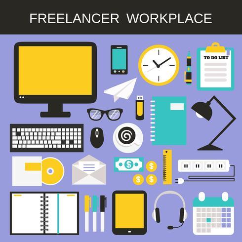 Conjunto de ícones de trabalho freelancer vetor