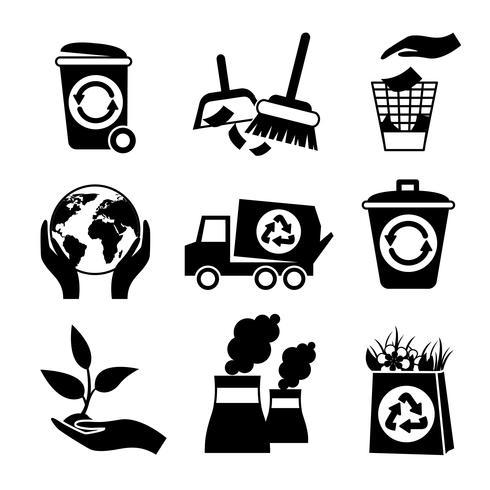 Conjunto de ícones de ecologia preto e branco vetor