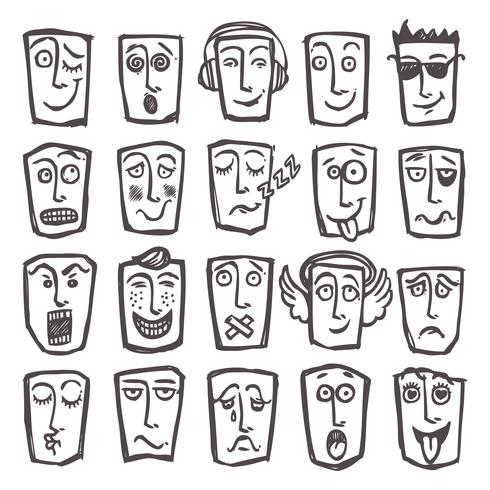 Conjunto de emoticons de esboço vetor