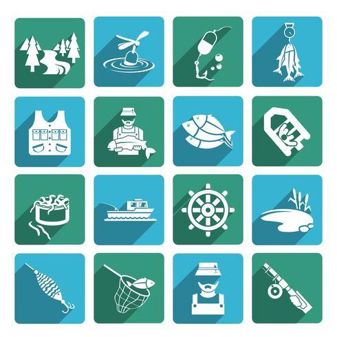 Jogo, de, pesca, ícones vetor