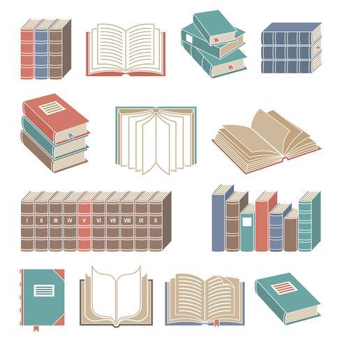 Conjunto de ícones de livro cor vetor