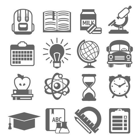 Ícones de educação preto e branco vetor