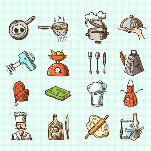 Esboço de ícones de cozinha vetor