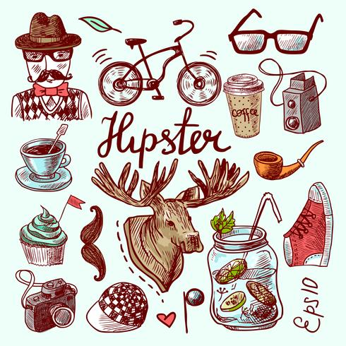 Jogo, de, hipster, ícones vetor