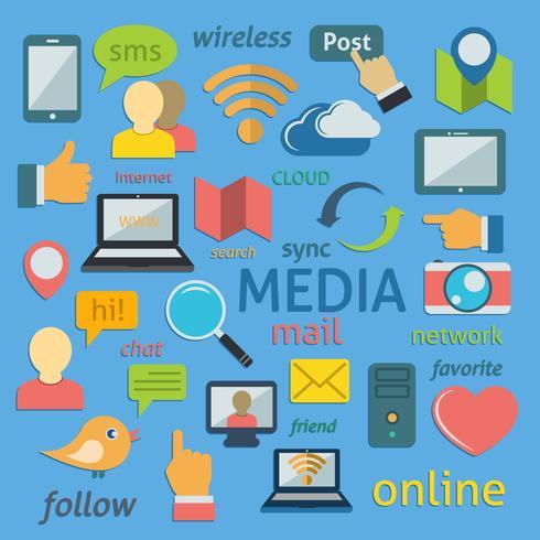 Composição de ícones de redes sociais vetor