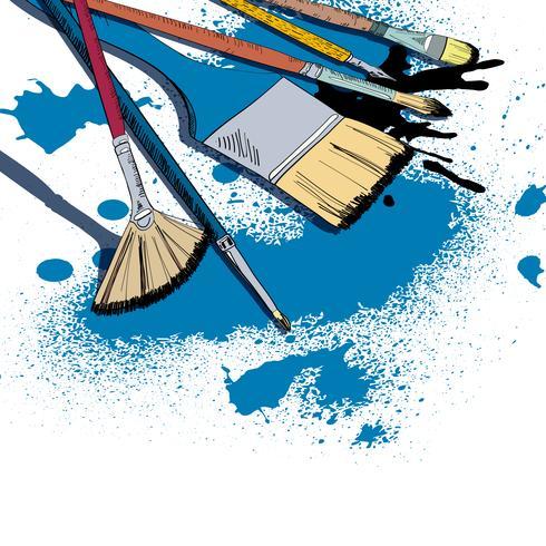 Artista escovas desenho emblema vetor