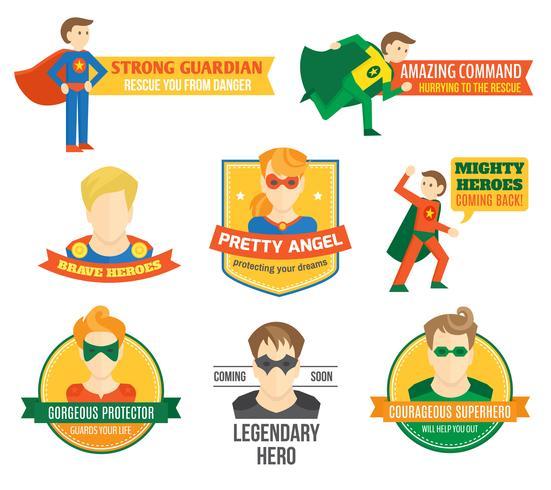 Rótulo de super-heróis vetor