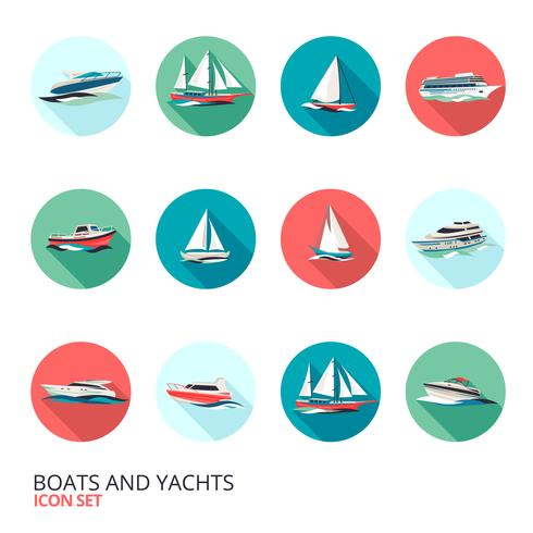 Conjunto de ícones de barcos vetor