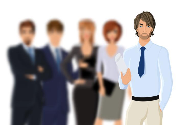 Retrato, de, jovem, homem negócios, com, equipe negócio vetor