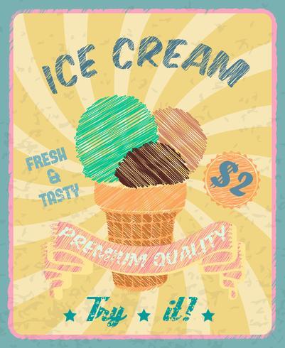 Cartaz de sorvete vetor