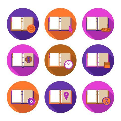 Conjunto de ícones plana de livros e símbolos vetor