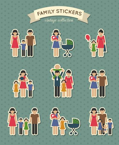 Conjunto de ícones de família de cor vetor