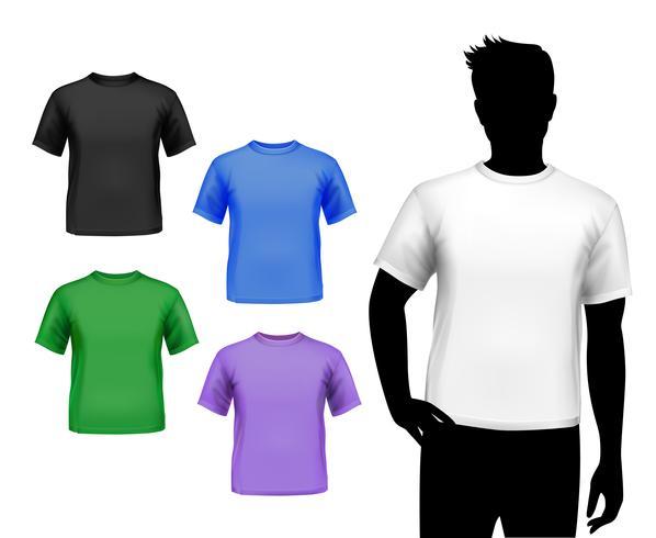 Conjunto de t-shirts para homem vetor