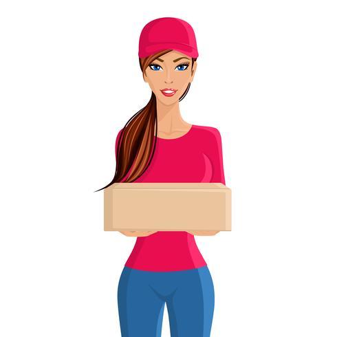 Retrato de pessoa de entrega de mulher vetor