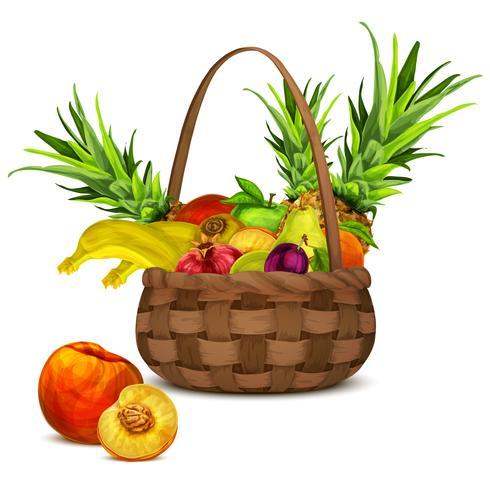 Frutas na cesta vetor
