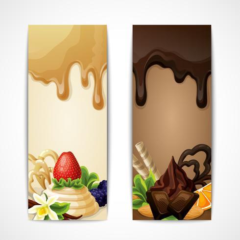 Banners de chocolate verticais vetor