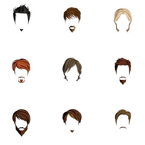 Conjunto de estilo de cabelo de homem vetor