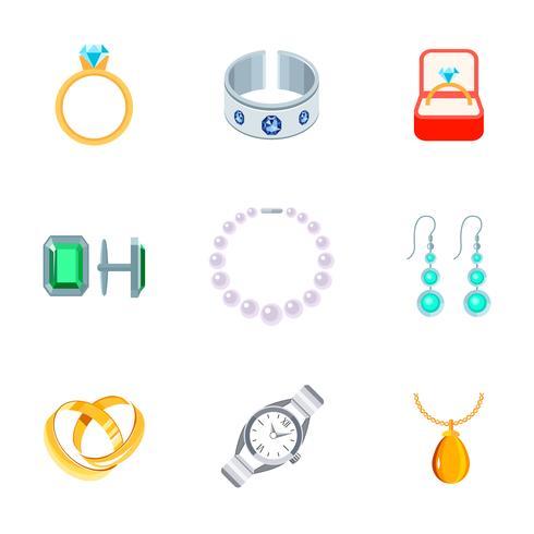 Ícones de jóias planas vetor