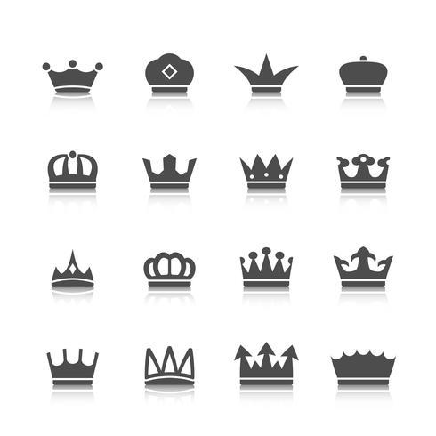 Conjunto de ícones de coroa vetor
