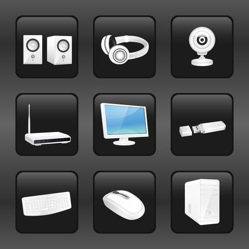 Ícones de computador e acessórios vetor