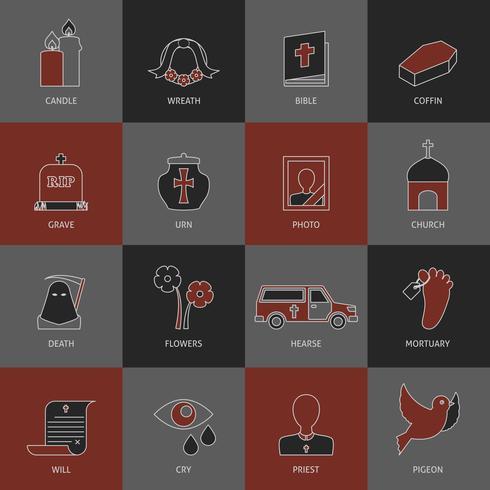 Conjunto de ícones do funeral vetor