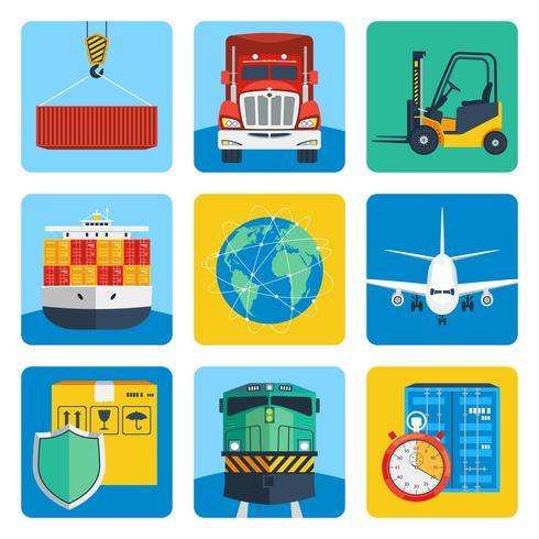 Conjunto de ícones logísticos vetor