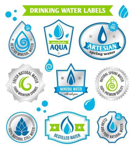 Conjunto de rótulo de gotas de água vetor