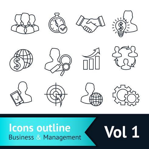 Contorno de ícones de negócios e gestão vetor