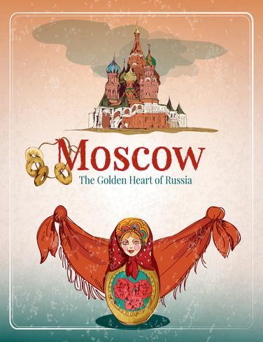 Poster retro de Moscou vetor