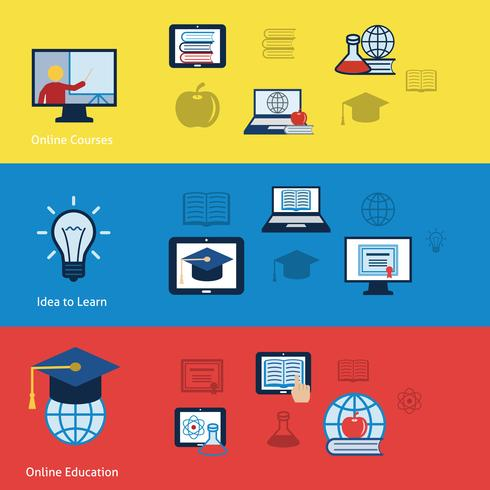 Banners de educação on-line vetor