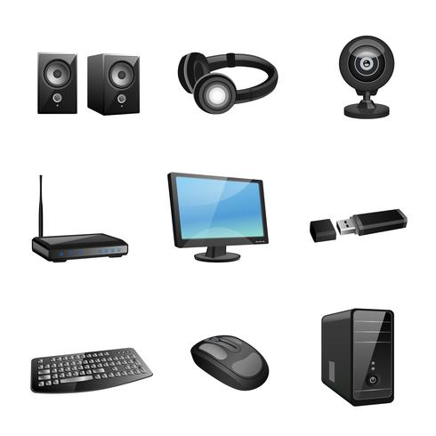 Ícones de acessórios de computador pretos vetor