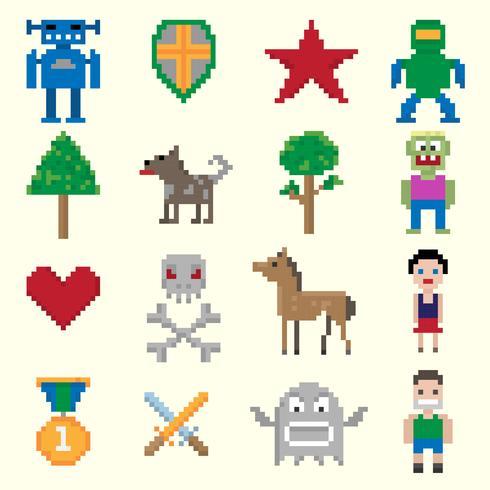 Personagens de pixel de jogos vetor