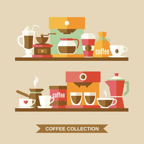 Elementos de café em prateleiras vetor