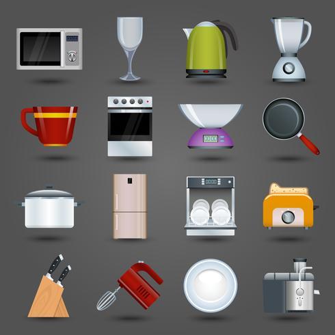 Ícones de aparelhos de cozinha vetor