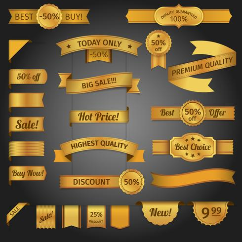 Desconto retro ribbon golden set vetor