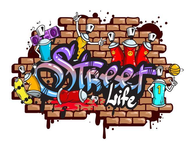 Composição de personagens de palavra graffiti vetor