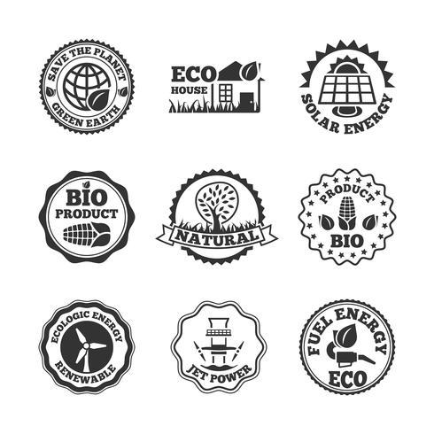 Conjunto de rótulos de energia ecológica vetor
