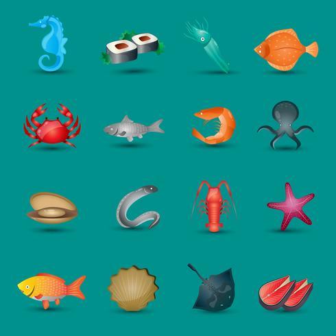 Conjunto de ícones de frutos do mar vetor