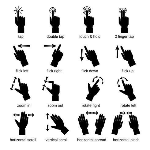 Gestos de interface de toque preto vetor