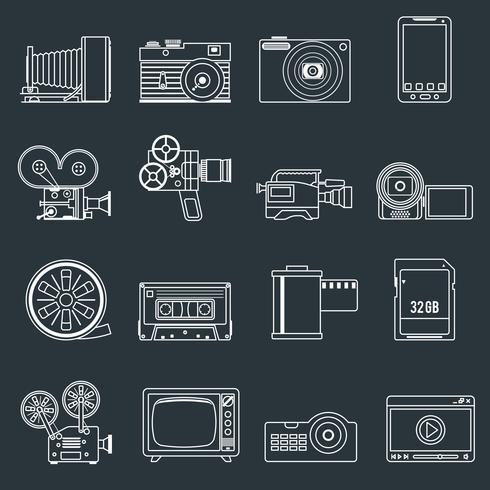 Conjunto de ícones de vídeo foto contorno vetor